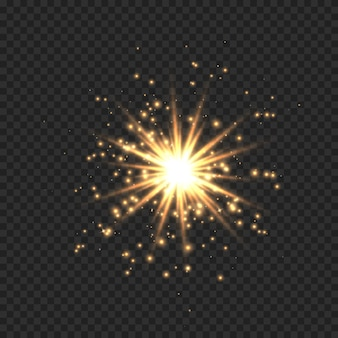 Stern platzte vor funkeln. goldener lichtfackeleffekt mit sternen, funkeln und glitzer lokalisiert auf transparentem hintergrund. illustration des glänzenden glühsterns mit sternenstaub, goldener linseneruption.