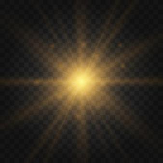 Stern platzte vor funkeln. satz gelb leuchtendes licht explodiert auf transparent