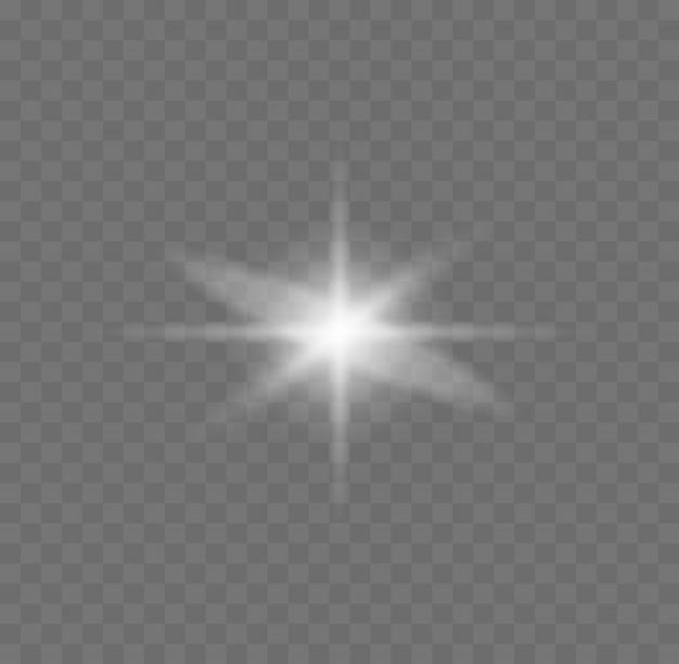Stern platzte vor funkeln. weißes leuchtendes licht explodiert auf einem transparenten hintergrund. funkelnde magische staubpartikel. glitzernder heller stern. transparent strahlende sonne, heller blitz. illustration.