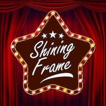Stern retro- anschlagtafel-vektor. roter theatervorhang. leuchtendes licht-schild. realistischer shine star lampenrahmen. karneval, zirkus, kasinoart. illustration