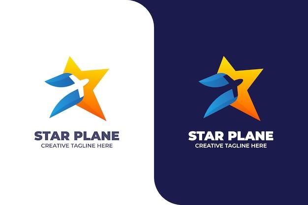 Stern und flugzeug abstraktes buntes logo