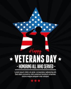 Stern und soldat des amerikanischen veteranentages