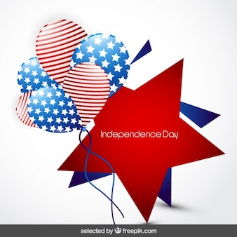 Sterne-abzeichen der unabhängigkeitstag mit luftballons