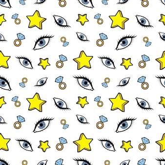Sterne diamanten und augen nahtloses muster. mode-hintergrund im retro-comic-stil. illustration