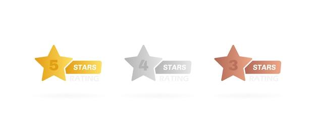 Sterne label mit unterschiedlicher note. fünf, vier und drei sterne bewertung.