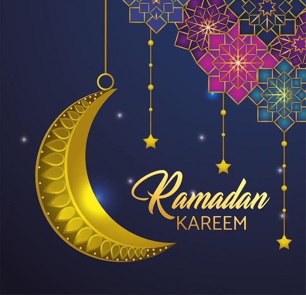 Sterne mit dem mond, der zu ramadan kareem hängt