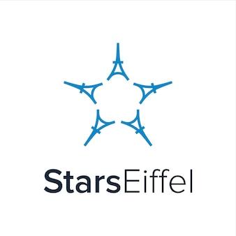 Sterne mit fünf eiffelturm einfaches kreatives geometrisches schlankes modernes logo-design