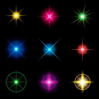 Sterne mit glimmlichteffekt strahlen.