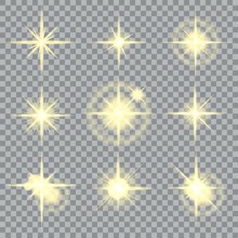 Sterne platzen gelb funkeln und leuchtende lichteffekte