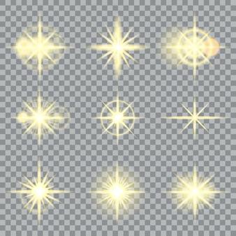 Sterne platzen gelbe schimmer und leuchtende lichteffektillustration