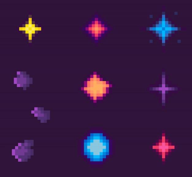 Sterne und abstrakte formen des galaxie-pixel-spiels