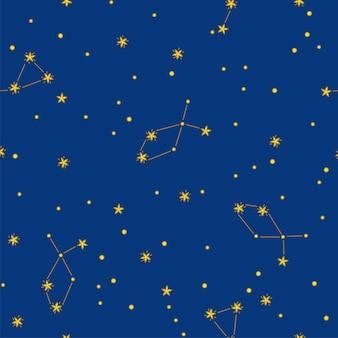 Sternenklare nacht nahtlose muster mit sternen und konstellationen. farbenfrohes design für drucke auf papier, stoff und kleidung. vektor-illustration im niedlichen cartoon-stil