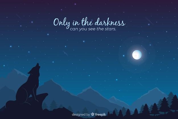 Sternenklare nachthintergrund der steigung mit bergen