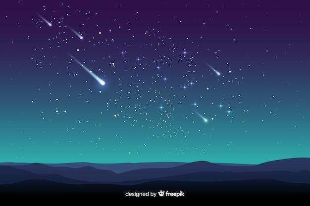 Sternenklare nachthintergrund der steigung mit gefallenen sternen