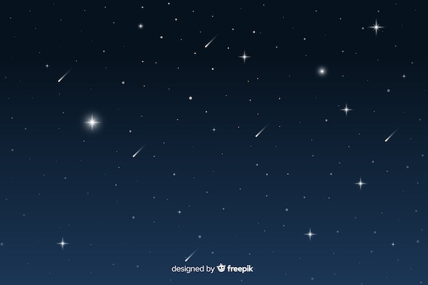 Sternenklare nachthintergrund der steigung mit sternschnuppen