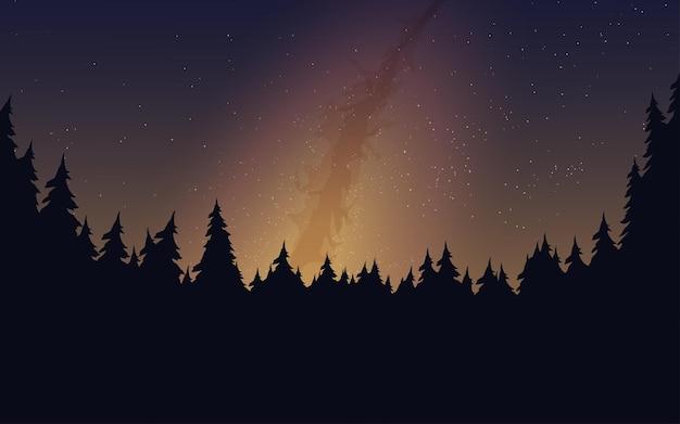 Sternenklare nachtlandschaft mit pinienwald