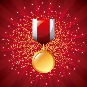 Sternenklarer hintergrund des goldenen medaillenpreisgewinnerpreis-bandes