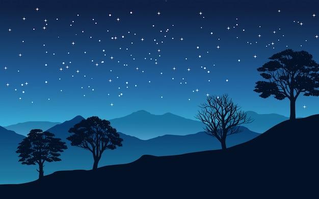 Sternennacht im tal mit bäumen und bergen