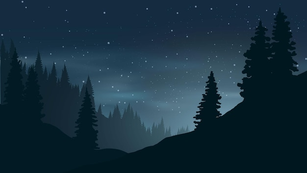 Sternennacht in kiefernwaldillustration