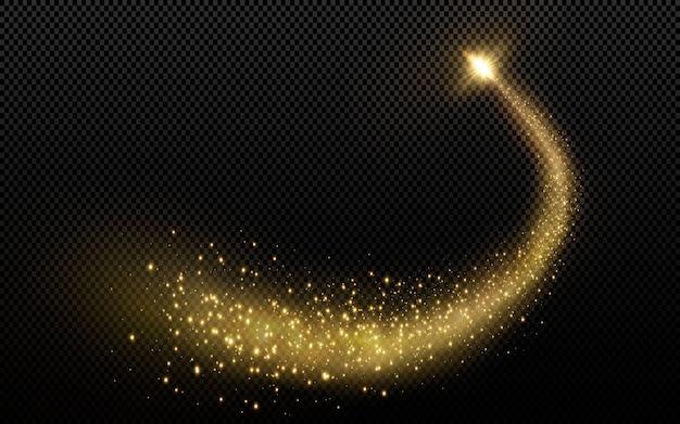 Sternenstaub funkeln. magisch glitzernde staubwellen glühende sternspuren, weihnachtlich leuchtende lichteffekte.