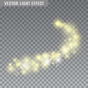 Sternenstaub. kometenschwanz. blitz, funkelt auf transparentem hintergrund. fackeln. lichteffekte. illustration.