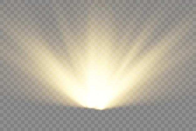 Sternexplosion auf transparentem hintergrund, gelbes licht beleuchtet sonnenstrahlen, flare-spezialeffekt mit lichtstrahlen und magischen glitzern, heller und leuchtender goldener stern,
