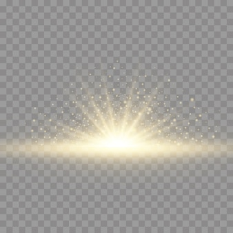 Sternexplosion auf transparentem hintergrund, gelbes licht beleuchtet sonnenstrahlen, flare-spezialeffekt mit lichtstrahlen und magischen glitzern, heller und leuchtender goldener stern.