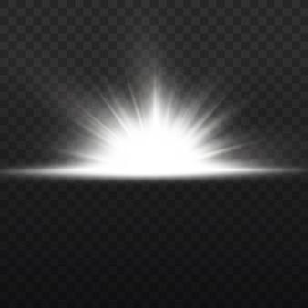 Sternexplosion auf transparentem hintergrund, weißes licht beleuchtet sonnenstrahlen, flare-spezialeffekt mit lichtstrahlen und magischen glitzern, heller und leuchtender goldener stern,