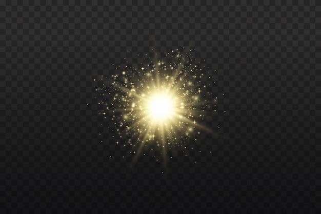 Sternexplosion, glühlichter, sonnenstrahlen, flare-spezialeffekt mit lichtstrahlen und magischem funkeln