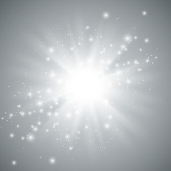 Sternexplosions-vektorillustration, glühende sonne. sonnenschein isoliert