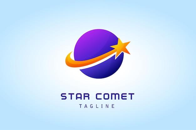 Sternkomet mit kreisplaneten-gradientenlogo für unternehmen