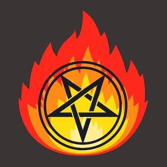 Sternpiktogramm mit spitzen in flammen. ruf den teufel. flache vektorillustration
