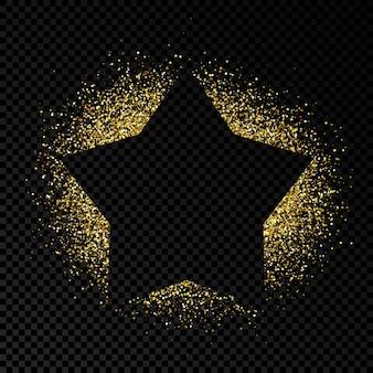 Sternrahmen mit goldenem glitzer auf dunklem transparentem hintergrund. leerer hintergrund. vektor-illustration.