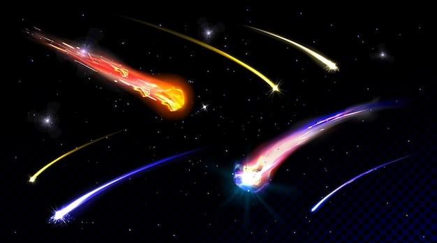 Sternschießkometen im sternenhimmel oder im weltraum, die mit meteoriten der feuerspur auf galaxienwand mit explosionen des transparenten feuerballmeteors in der realistischen illustration des kosmos fallen