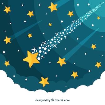 Sternspurhintergrund mit wolken auf unterseite