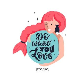 Sternzeichen fische und mädchen motivationszitat tun sie, was sie für das horoskopdesign lieben