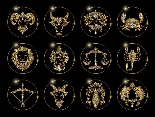 Sternzeichen satz von horoskop symbole astrologie icons sammlung