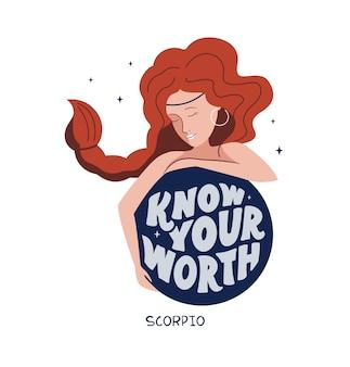 Sternzeichen symbol skorpion und mädchen motivationszitat wissen, dass sie es wert sind, gut für astrologie-horoskope zu sein