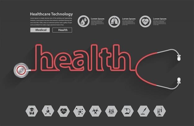 Stethoskop in form eines gesundheitswortdesigns