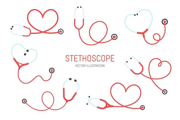 Stethoskop krankenschwester. ein medizinisches stethoskop, das sich zu einem herzförmigen gesundheitskonzept zusammenrollt.