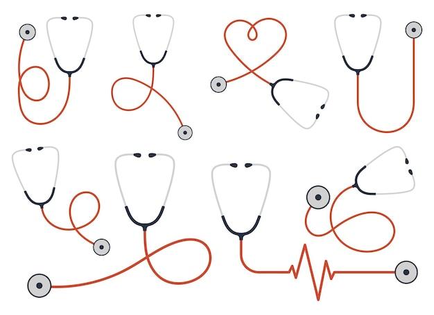 Stethoskop-set vektor-design-illustration isoliert auf weißem hintergrund