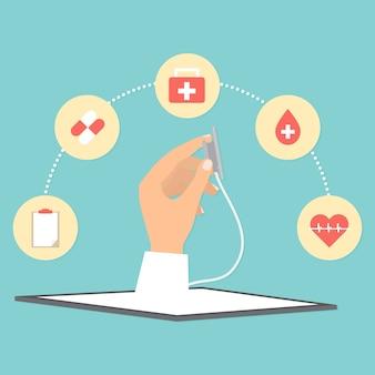 Stethoskop vom tablettentelemedizinkonzept