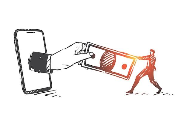 Steuer-, schulden-, cyberkriminalitätskonzeptskizzenillustration