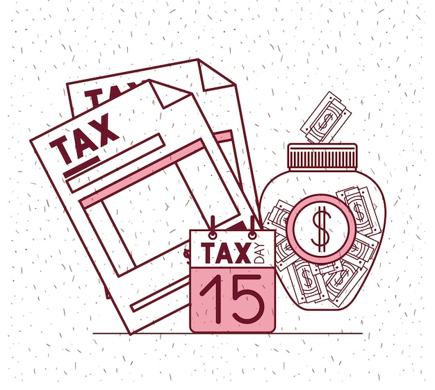 Steuer tag gesetzt symbole