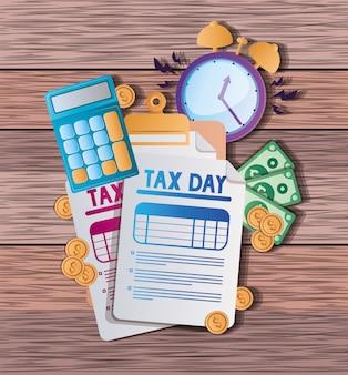 Steuern dokumente rechner uhr münzen und rechnungen vektor-design