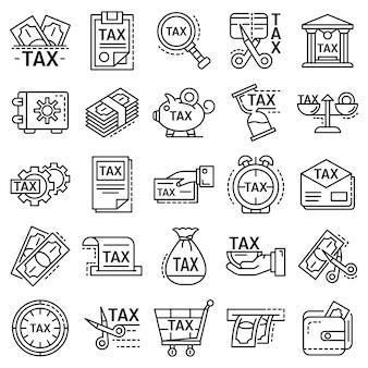 Steuern-icon-set. umrisssatz steuervektorikonen