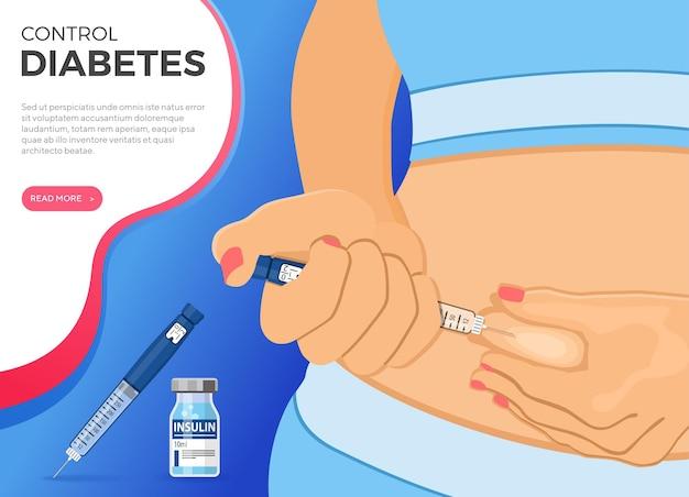 Steuern sie ihr diabetes-konzept. frau hält insulinstiftspritze in der hand und macht injektion. flache stilikone. konzept der impfung. isolierte vektorillustration