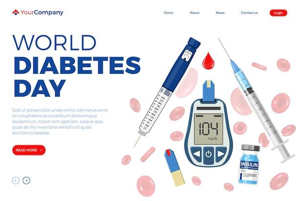 Steuern sie ihr diabetes-konzept. weltdiabetestag. blutzuckermessgerät, insulinstiftspritze, rote blutkörperchen und durchstechflasche. vorlage für die zielseite. isolierte vektorillustration