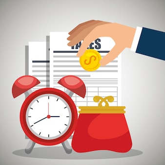 Steuerpflichten und wirtschaft icons