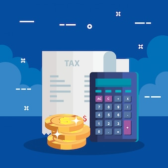 Steuertag illustration mit gutscheinpapier und taschenrechner